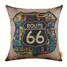 LINKWELL Brand Retro Pillow Case Burlap Cushion Cover 18x18 inch Rusted Mother Road Route 66 in