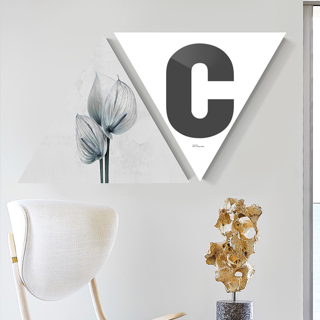 nordic style framed triangle flowers with words canvas posters print