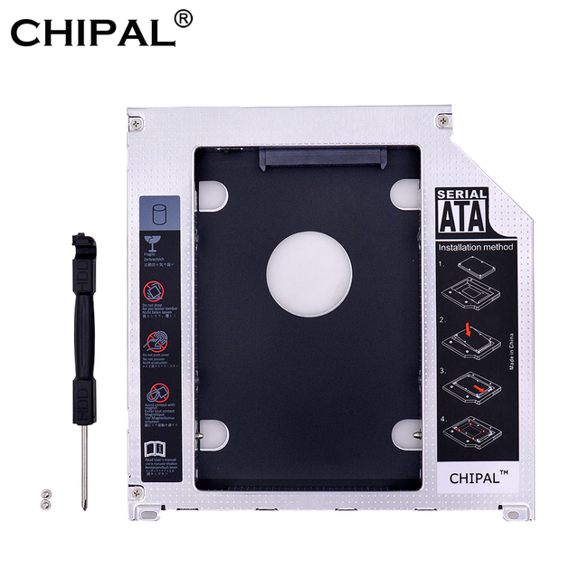 """CHIPAL aluminio 9,5mm 2 nd HDD Caddy SATA a SATA 3 2,5 """"SSD HDD funda para Apple Macbook Pro Air 13"""" 15 """"17"""" DVD/CD-ROM Optibay"""