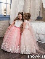 2017 Multi kleur beauty flower girl trouwjurken met kant applicaties tulle kids pageant jurk eerste communie jurken