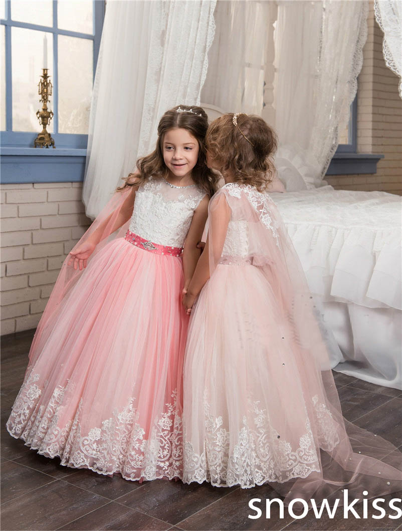 2018 Multi color beauty flower girl dresses for wedding with lace appliques tulle kids pageant dress first communion dresses 1 12t pink lace long trailing wedding dress flower girl dresses appliques first communion dresses for girls pageant dresses