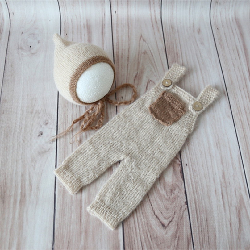 Beige Mohair Baby Knitted Romper Set Crochet Newborn Hat and Romper Soft Baby Clothes Outfits Overalls Infant Bonnet Photo Props