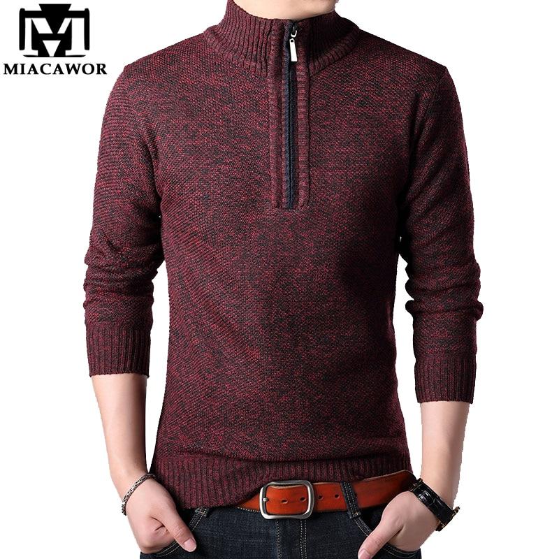 MIACAWOR Brand Sweater Men Autumn Winter Fleece Warm Pullovers Men Casual Wool Sweater Slim Fit Jumpers Men Clothing Y145