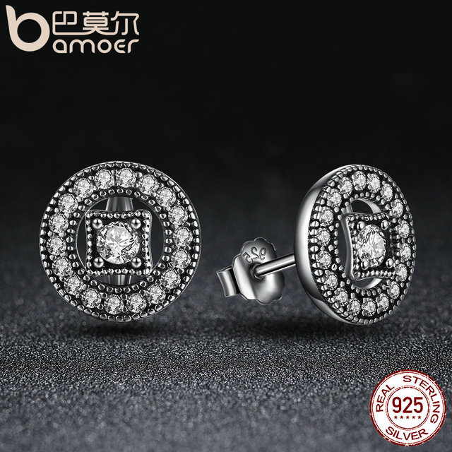 Sterling Silver Vintage Allure Clear CZ Stud Earrings