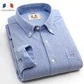 Langmeng 100% algodón envío libre de rayas hombres de la camisa de manga larga 2016 primavera camisa masculina camisas casuales oxford camisas de vestir