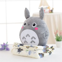 totoro plush toy cute totoro soft pillow with blanket 3 in 1 toy pillow totoro anime figure gift for children kids toys