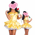 La bella y la bestia belle traje de princesa gorgeous dress mujeres adultos traje de carnaval de disfraces de halloween disfraces cosplay dress amarillo
