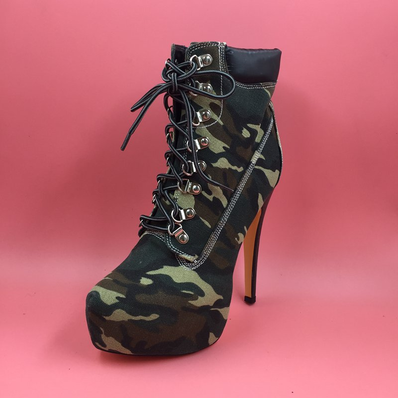 US $98.1 10% OFF|Sorbern Frauen Winter Stiefel Leinwand Camouflage Damen Schuhe Stiefel High Heel Stilettos Australischen Stiefel Frauen Booties