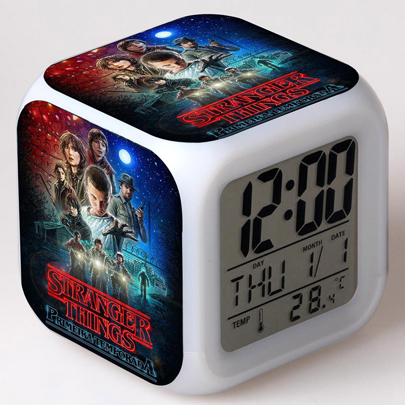 Movie Figurines Stranger Things LED Alarm Clock Colorful Flash Touch Light Action Figure Toys stranger shores