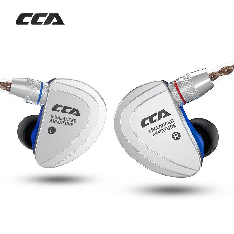 NUOVO CCA C16 8BA le unità in trasduttore auricolare dell'orecchio del Metallo del trasduttore auricolare HIFI auricolare staccabile auricolare con Cavo 2PIN separato c10 C04