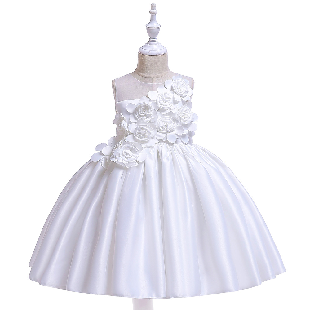 Hot Sale White Handflowered First Communion   Dresses   For   Girl   Satin A-Line   Flower     Girls     Dresses