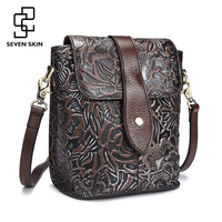 Famous Women Embossed Flower Shoulder Bags Female Vintage Messenger Bag High Quality Genuine Leather Ladies Small