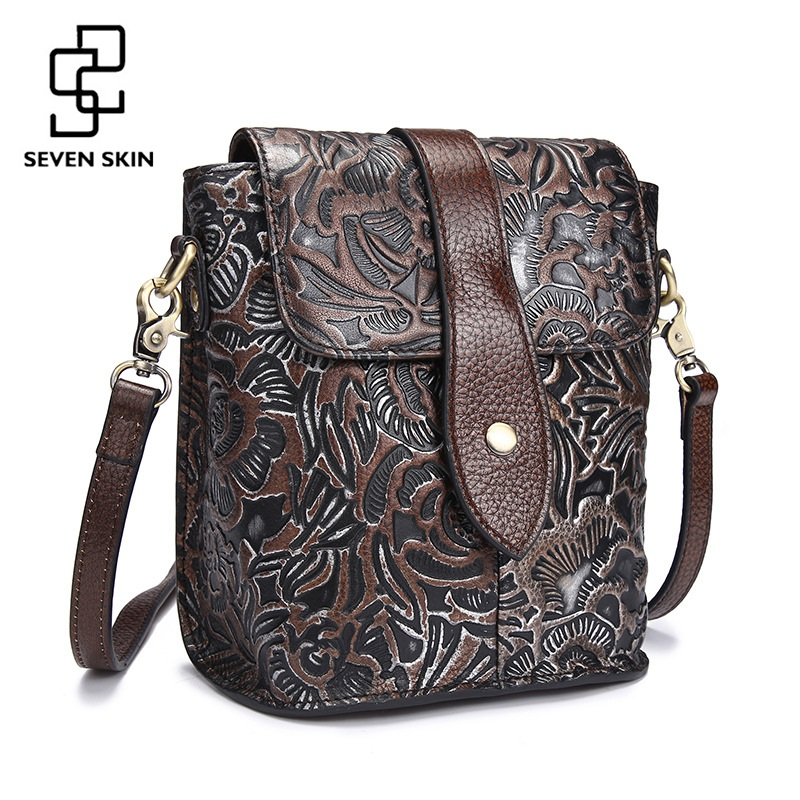 Famous Women Embossed Flower Shoulder Bags Female Vintage Messenger Bag High Quality Genuine Leather Ladies Small Handbag Flap