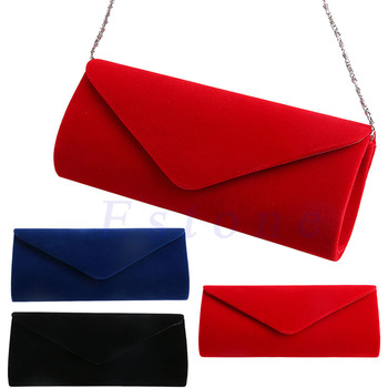 New 1Pc Ladies Velvet Evening Clutch Handbag Chain Bag Formal Chain Shoulder Tote Purse 1