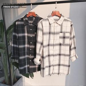 Image 3 - Privathinker Plaid Shirts Oversized Long Sleeve Shirt Men Women Casual Plaid Flannel Burr Shirts Harajuku Male Strip Shirts