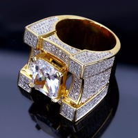 High end luxury Micro inlaid Gold Big Zircon Ring men's ring Engagement Wedding CZ Rings popular jewelry