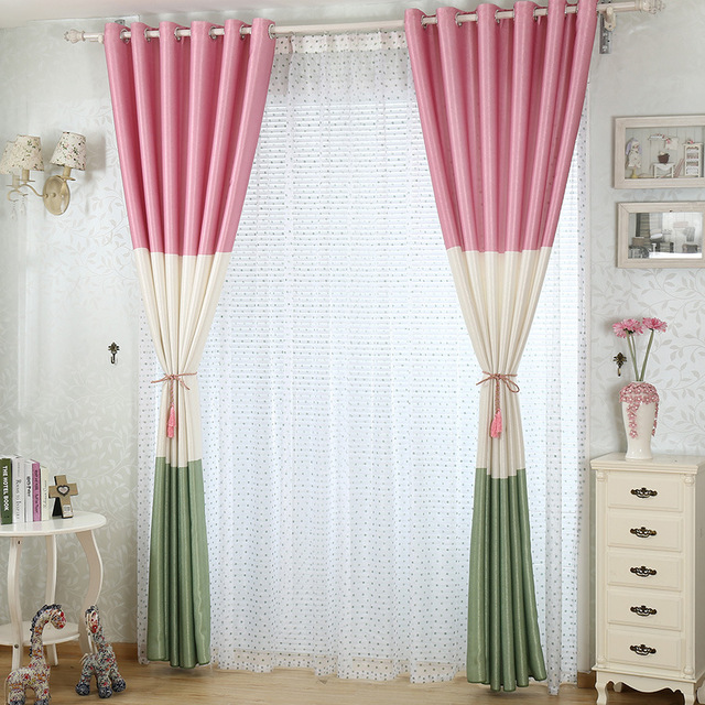 Moder Mixed Color Curtains For Children Living Room Luxury Window Bedroom Pink
