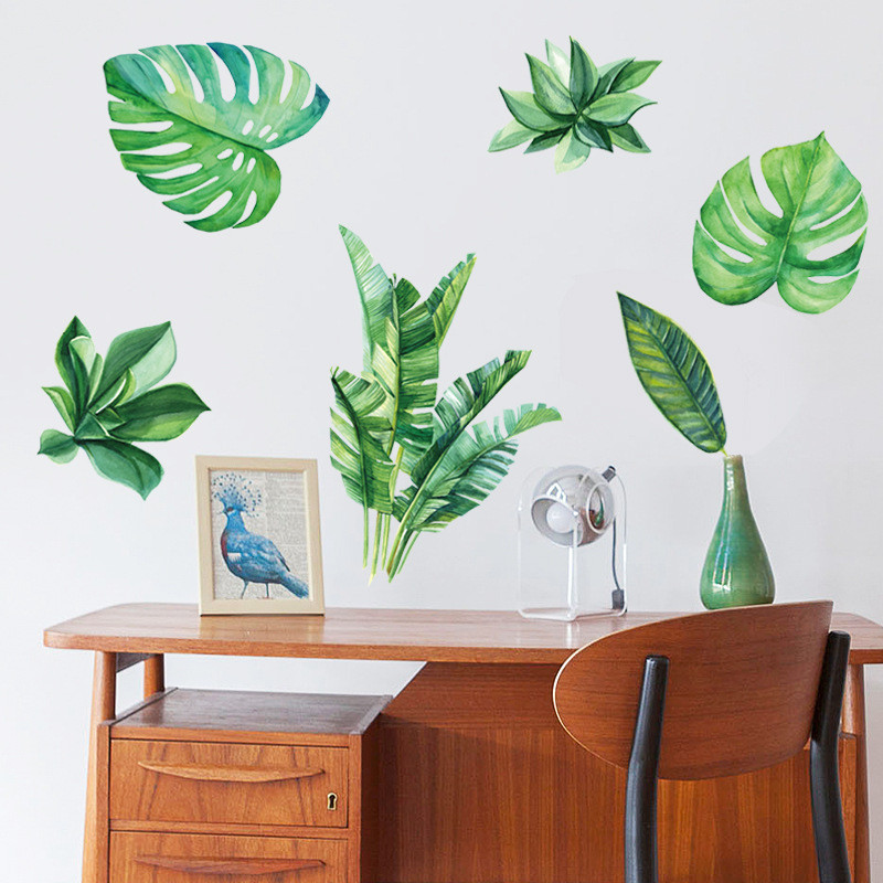 Banana Leaves Art Vinyl Mural Home Room Decor Wall Stickers 6J1 Drop Shipping in Wall Stickers from Home Garden
