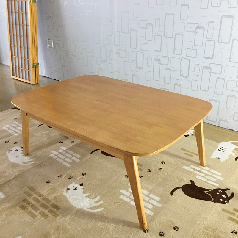 Asian Inspired Living Room: Modern Wood Table Kotatsu Japanese Style Living Room