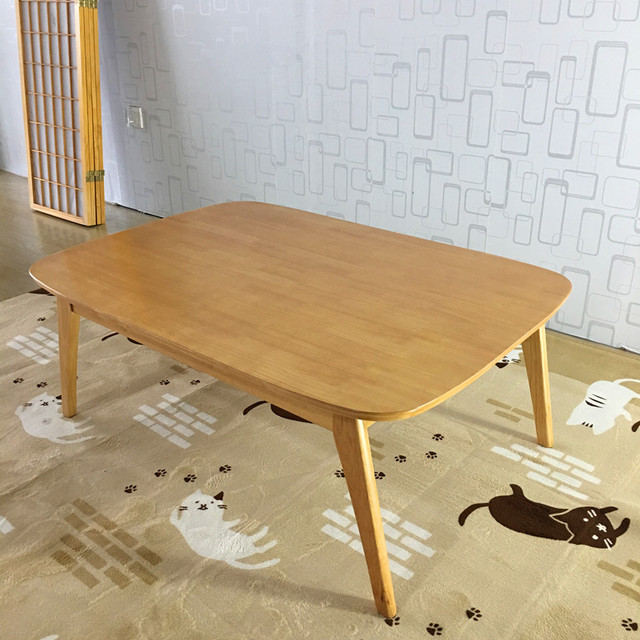 Modern Wood Table Kotatsu Anese Style Living Room Furniture Coffee Natural Dark Walnut Color