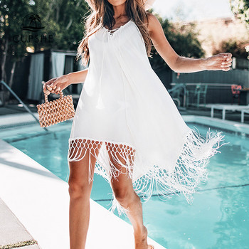 CUPSHE White Backless Cover Up With Tassels Sexy V-neck Lace Up Halter Beach Dress Women 2020 Summer Bathing Suit Beachwear 2