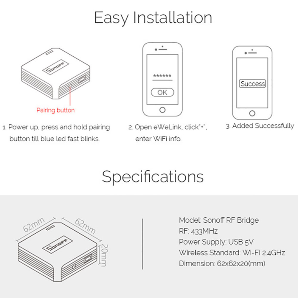 Sonoff RF Bridge WiFi 433 MHz Replacement Smart Home Automation Universal Switch Intelligent Domotica Wi-Fi Remote RF Controller 6