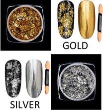 Irregular Nail Glitter Aluminum Flakes Mirror Effect Gold/Silver Powders Sequins Chrome Pigments DIY Art Decorations