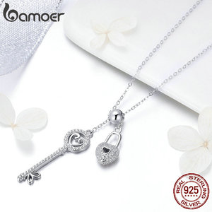 Image 4 - BAMOER Romantic 925 Sterling Silver Key of Heart Lock Chain Pendant Necklaces for Women Sterling Silver Jewelry Collar SCN290