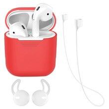 Capa de Silicone para A Apple Airpods Vagens de Ar À Prova de Choque Capa Protetora com Alça Anti-lost & Tampa Da Orelha Ganchos acessórios, vermelho