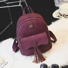 Мода кисточкой женщины кожаные рюкзак минималистский твердые высокое качество школьные сумки для подростков девочек женские рюкзаки