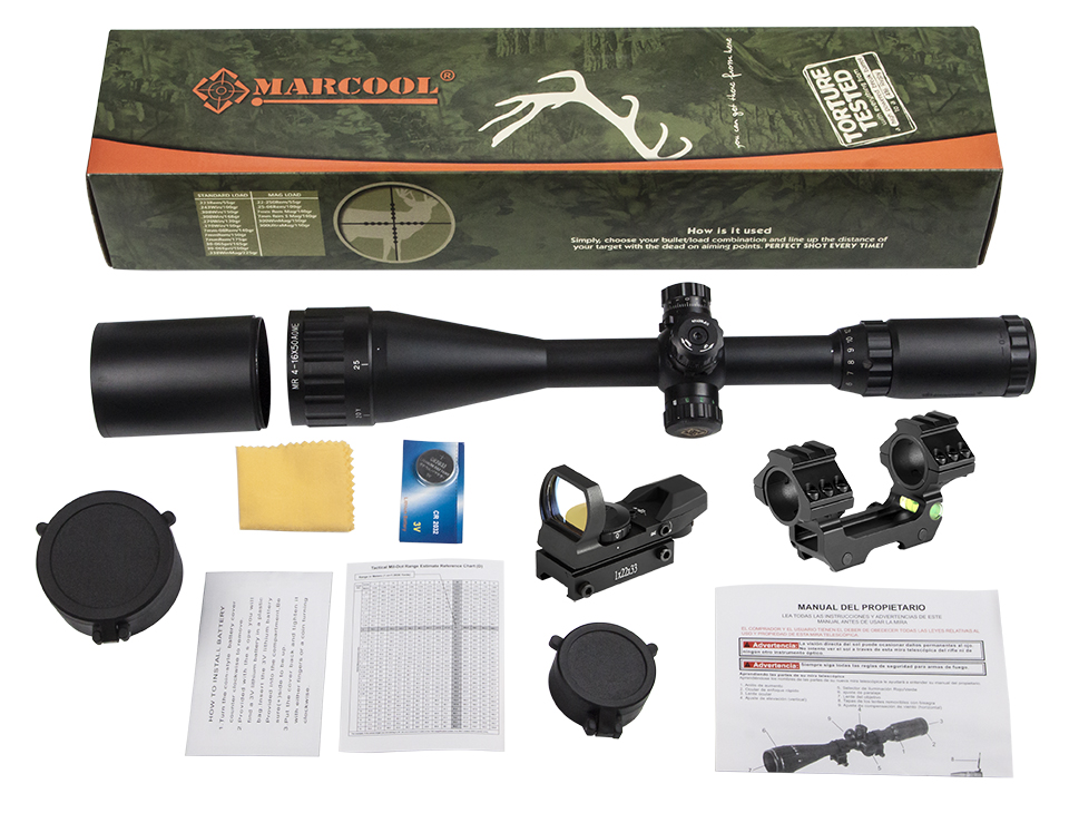 US $44 2 |Marcool 4 16x50 AOIRGBL Optical Aim Collimator Sight Luneta Para  Airsoft Air Guns Rifle Scope Weapons Red Dot For Hunting -in Riflescopes