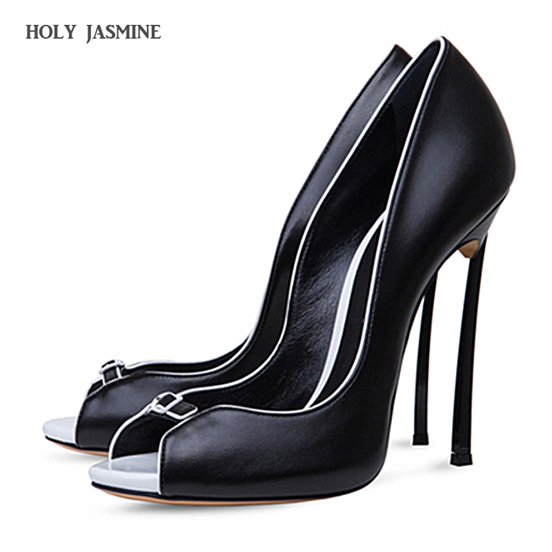HOLY JASMINE 2017 summer peep toe extreme high heels sexy pumps ladies leather dress shoes for women plus size 12cm black white