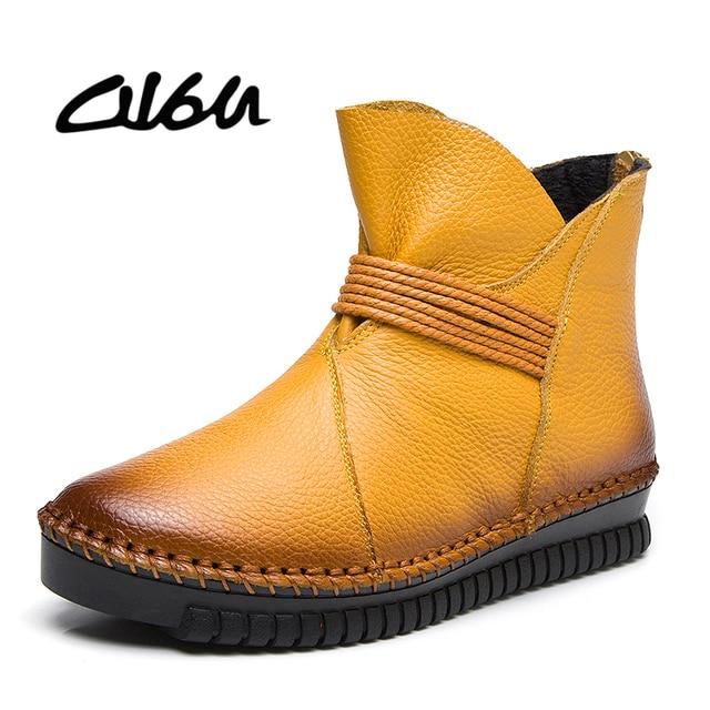 O16u 2018 Winter Women Short Boots Flat Heel Genuine Leather Zip