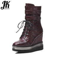 J K 2017 New Arrive Stylish High Wedges Ankle Boots Women Thick Platform Shoes Woman Lace