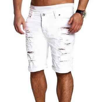 MJARTORIA 2019 New Men's Regular- Denim Short Jean Pants Summer Casual Hole Zipper  Mid Waist Shorts Men's Solid Jean Shorts 4