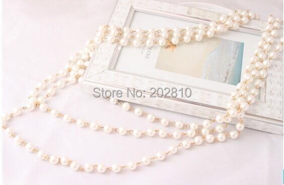 Mada Keturi sezonai dėvėti 3 sluoksnio stulpelio perlų megztinis - Mados papuošalai - Nuotrauka 5