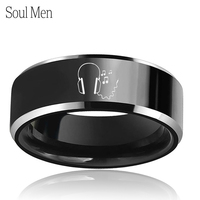Enagraved Head Phones Music Notes Special Jewelry 8mm Black Tungsten Wedding Band Comfort Fit Gril Boy