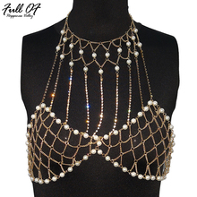 Sexy Women Summer Metal Chain Pearl Diamonds Crop Top 2018 Halter Hollow Shiny Exotic Nightclub Party Womens Tank Camis Tops New