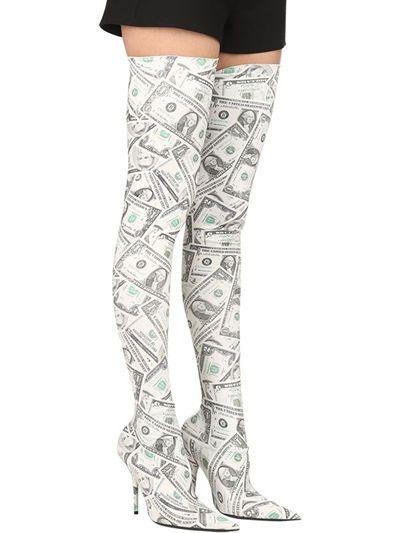 THEMOST Ultime Scarpe di Moda Autunno Inverno Flora Stampato Lycra di Stirata di tirare Sopra il Ginocchio Stivali Tacco Alto per le donne