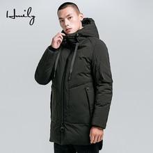 HMILY Men Winter Casual Jacket Parka Brand New Warm Coat Fashion Solid Parkas Medium Thickening Hat Coats