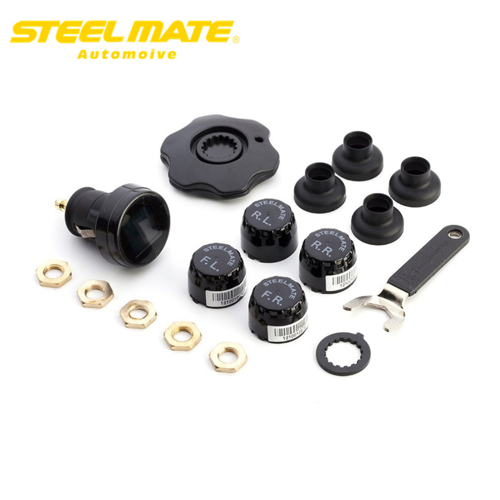 Steelmate 2017 TP-74 Car TPMS DIY Tire Pressure Monitor System car Alarm LCD Display with 4 External Sensors hot sale steelmate tp 03s tpms tire pressure monitoring system with lcd display cigarette plug 4 valve cap external sensors steel mate
