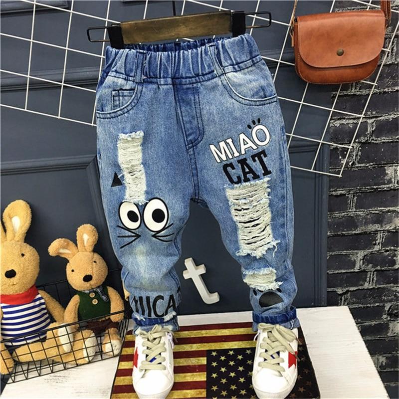 2018 nova moda jean calças das crianças dos desenhos animados menino e menina calças jeans crianças calças de brim do furo para meninos das meninas calças de brim