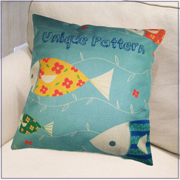 Fashion Linen Unique Pattern Style Pillow Cover Case Painting Fish Fabric Design Sofa Chair Office Car Cushion In From Home Garden On