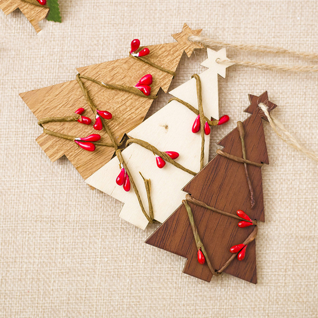 Us 0 9 30 Off Wooden Christmas Tree Ornament Pendant 3 Colors Rattan Decor Tag For Christmas Tree Decorations Xmas New Year Party Accessories In