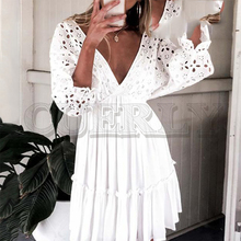 CUERLY Elegant v neck embroidery women dress Ruffle pleated cotton lace up summer dresses Casual sexy hollow out festa