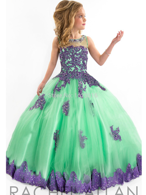 8014ae625 2017 Girls Pageant Dresses Ball Gown High Collar Blue Green Red ...