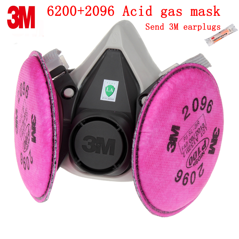 3M 6200+2096 respirator mask Genuine security 3M respirator dust mask against Spray liquid particulates Welding dust gas mask 3m 6200 6005 respirator gas mask genuine security 3m protective mask against formaldehyde organic vapor gasmaske