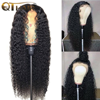 QT 13x4 Lace Front Human Hair Wigs for Black Women Remy Brazilian Kinky Curly Lace Front Wig Pre Plucked With Baby Hair
