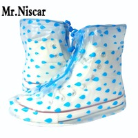 Women Blue Rain Shoe Covers Waterproof Non Slip Shoecovers Flat Sole Rain Covershoes