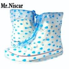 Women Blue Rain Shoe Covers Waterproof Non-Slip Shoecovers Flat Sole Rain Covershoes